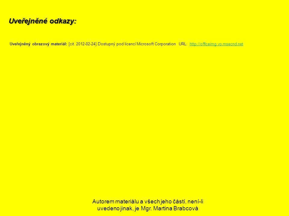 Uveřejněné odkazy: Uveřejněný obrazový materiál: [cit. 2012-02-24].Dostupný pod licencí Microsoft Corporation URL: http://officeimg.vo.msecnd.net.